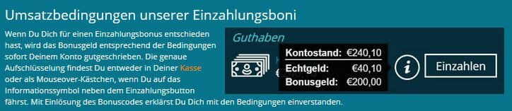 Platincasino Bonusbedingungen